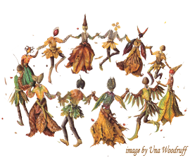 Leaves and nuts as dancers in a circle